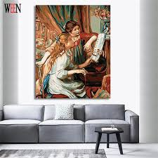 ween playing the piano oil painting by numbers on canvas diy handpainted sisters coloring by numbers digital canvas home decor in painting calligraphy