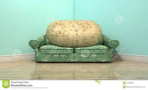 Old Sofa Couch Potato On Old Sofa Stock Illustration Image 47066256