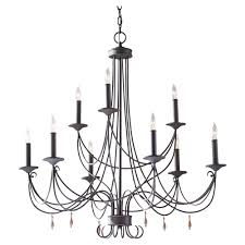 f2748 6 3ri 9 light two tier chandelier rustic iron feiss