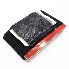 Men Slim Leather Wallet With Elastic Front Pocket Card Holders And