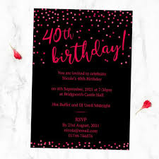 Birthday Invatations 40th Birthday Invitations Neon Confetti Typography
