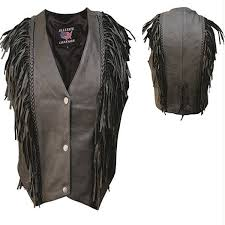 add to my lists allstate womens snap front v neck fringed leather motorcycle vest