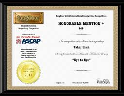 Honorable Mention Certificate Eye To Eye Song Received Honorable Mention Certificate From