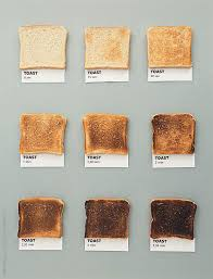 Different Toast Organized By Cooking Time And Color Burn In