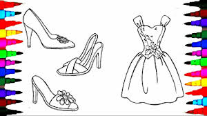 Small Picture Coloring Pages BARBIE Dress and Shoes Coloring Book Videos For