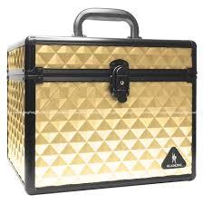 gladking makeup cosmetic hard case organizer bag gold big small