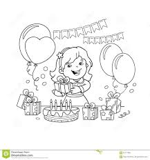 Coloring Page Outline Of Cartoon Girl With A Gift At The Holiday