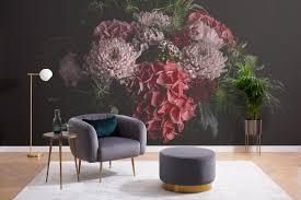 Dark Moody Floral Photo Wallpaper Mural ...