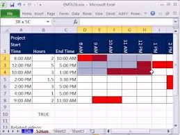 Excel Hourly Gantt Chart Excel Magic Trick 626 Time Gantt Chart Conditional Formatting Data Validation Custom Formulas