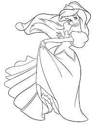 Small Picture Princess Ariel In Pretty Dress Coloring Page H M Coloring Pages