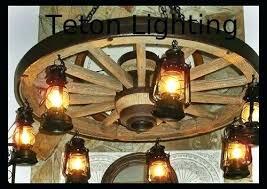 wagon wheel chandelier diy light fixtures mason jar home improvement