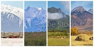 mountain scenery of four seasons europosters es