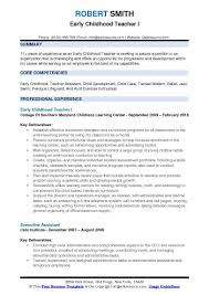 Early Childhood Teacher Resume Modern Early Childhood Teacher Resume Samples Qwikresume