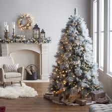 Vickerman PreLit 75u0027 Flocked Slim Utica Artificial Christmas Slim Flocked Christmas Trees Artificial