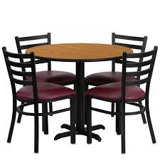 flash furniture hd1007 gg 36 round natural table set with ladder back metal chair and burdy vinyl seat