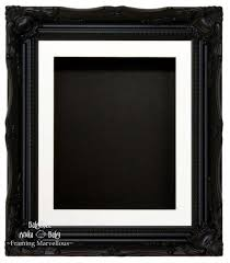 black swept ornate deep box frame 12x10 white 2 mount black back