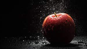 Wallpaper Red apple, rain, water drops ...