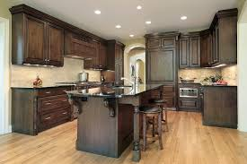 Dark Cabinets Light Floor White Spring Granite Countertop Grey Metal