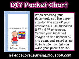 Pocket Chart Calendar Inserts Peace Love And Learning Diy Instant Pocket Chart