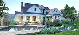 modern farmhouse floor plans. Crystal Falls Modern Farmhouse Floor Plan Emodern Plans Back Patio Exterior Render House With Basement U