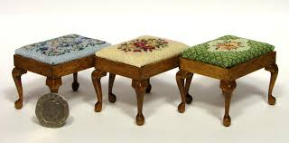 making dolls house furniture. These Rectangular Stools, Stitched On 32 Count Silk Gauze, Co-ordinate With The Chairs Making Dolls House Furniture