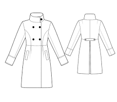 fashion designer sewing patterns wrap coat with wide lapels