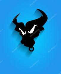 разъяренный бык лицо силуэт талисман векторное изображение