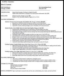 teacher middle school resume