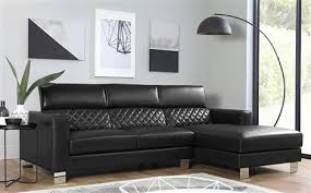furniture choice. turing black leather l shape corner sofa - rhf furniture choice