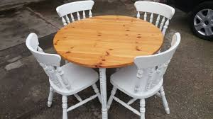 shabby chic white round table 4 farmhouse chairs bare wood effect top