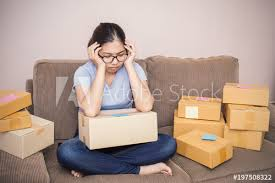 Start Boxes Asian Woman Stressful From Business And Boxes Start Up Small