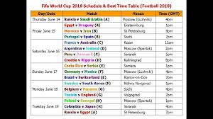 Fifa World Cup 2018 Schedule Best Time Table Football 2018