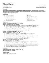 Quality Control Resume Sample Resume Sample
