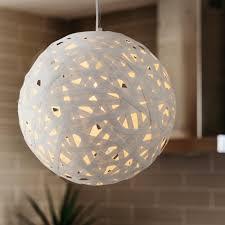 avalon single light large paper rattan ceiling pendant in matt white finish