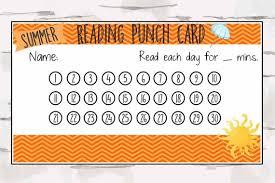 Summer Reading Punch Card Reward Punch Card Reward Chart Summer Reading Program Instant Download Pdf