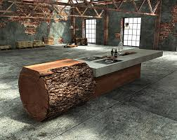 Designed by Willi Bruckbauer for Werkhaus, this kitchen island is made from  one large tree trunk partially in its natural state and partially milled,  ...