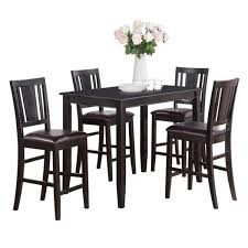 black counter height table and 4 kitchen counter chairs 5 piece dining set