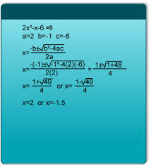 example 1 in this example we have found the quadratic coefficients and replaced them with the letters in the formula we have then simplified the formula