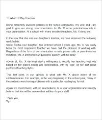 Sample Letters Of Recommendation For A Teacher 9 Examples