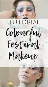 bright colourful festival makeup look tutorial