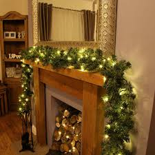 holiday outdoor pre lit garland with pine cones connectable warm white leds