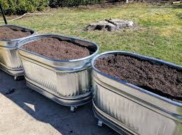 picture of metal water trough planters