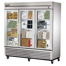 true t 72fg ld 78 3 section glass door reach in freezer with