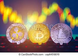 Litecoin Graph Chart Bitcoin Litecoin And Ripple Coins Currency Finance Money On Graph Chart Background Bitcoin As Most Important Cryptocurrency Concept Stack Of