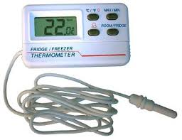 refrigerator thermometer. picture of digital thermometer for fridge / freezer refrigerator