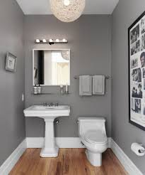 Bathroom Paint Grey Blue Wall Paint Mirror Panel On Hanging Cabinet White Real Wood
