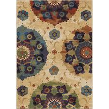 orian rugs suzzanni cream multi rectangular indoor machine made area rug common 9