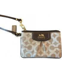 ... spain coach 46663 signature madison op art lurex small coin baguette  brown and gold wristlet womens ...