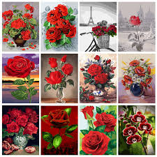 details about diy rose flowers paint by number kit acrylic oil painting canvas art home decor