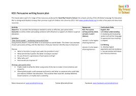 ks3 persuasive writing lesson plan